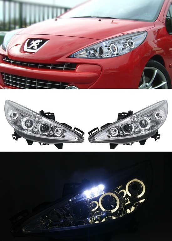 promotion angel eyes peugeot 207 chrome blog tuning voiture. Black Bedroom Furniture Sets. Home Design Ideas