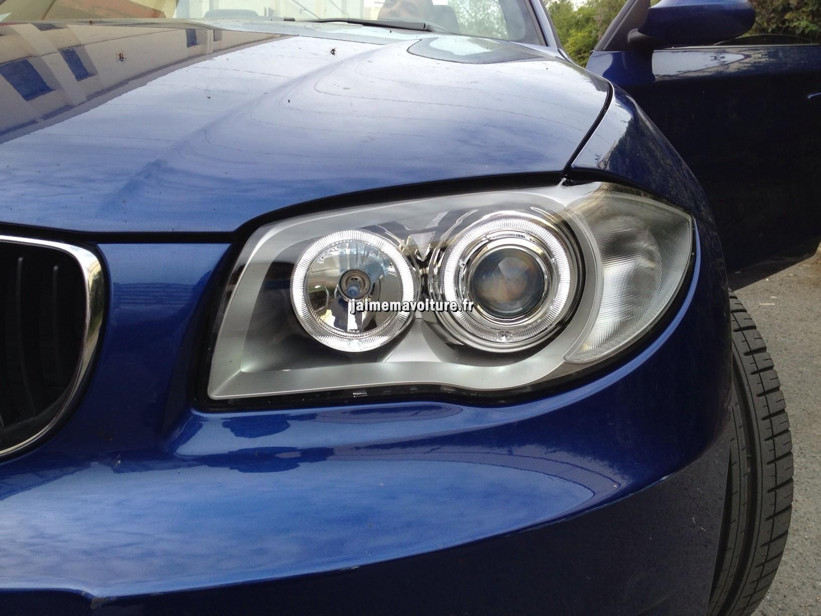 phares avants angel eyes avec anneaux blancs sur bmw s rie 1 accessoire voiture. Black Bedroom Furniture Sets. Home Design Ideas