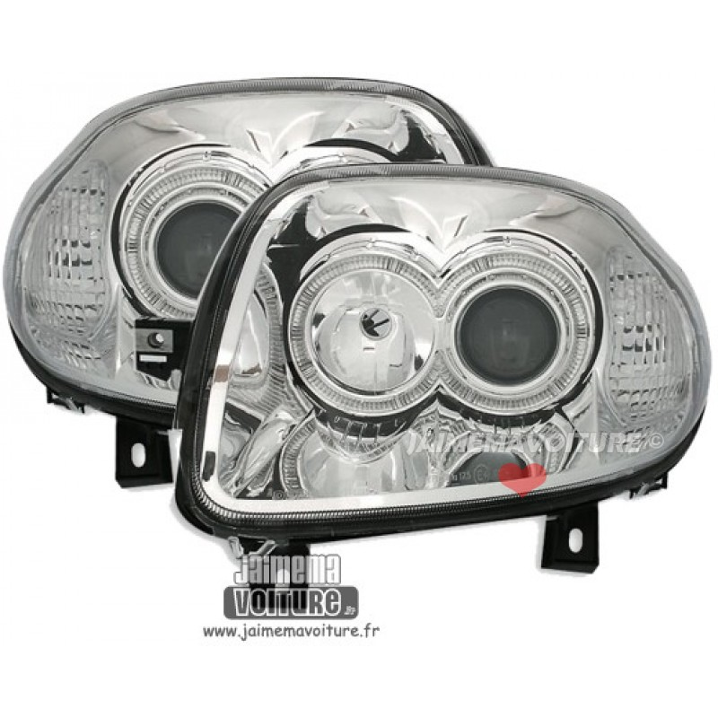 Phares avants Angel Eyes pour Renault Clio 2 - Chrome