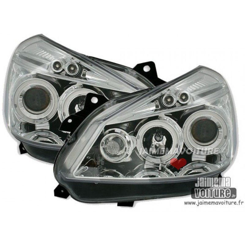 Phares avants angel eyes Junyan Chrome pour Renault Clio 3
