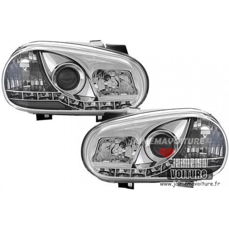 Phares avants led pour Golf 4 Sonar Chrome
