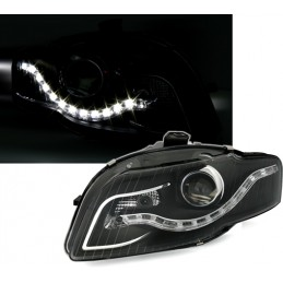 Front headlights daytime running leds for Audi A4 - black