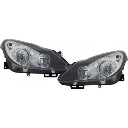 Phares avants Opel Corsa D - Noir/Chrome