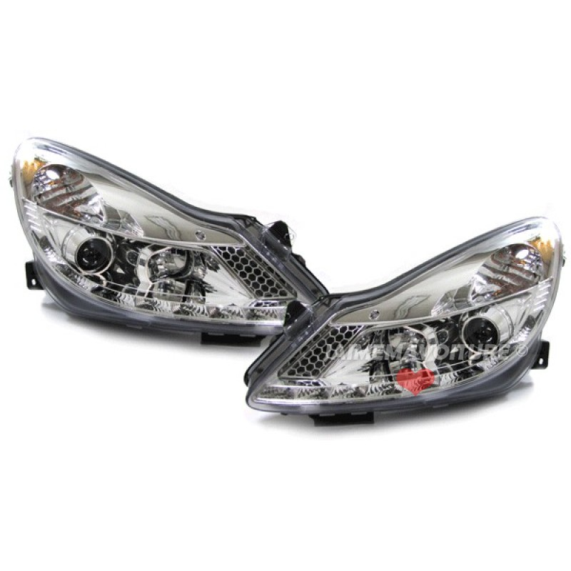 Phares avants à leds Devil eyes pour Opel Corsa D JY Chrome