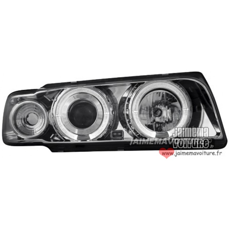 Phares Avants pour BMW E38 Angel eyes chrome