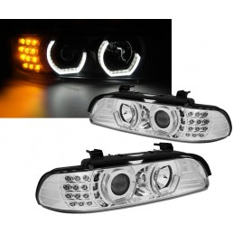 Phares avants angel eyes 3D pour BMW Série 5 E39 - Chrome