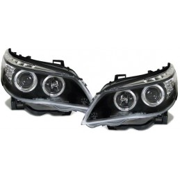 Phares avants Angel eyes BMW Série 5 E60/E61 look LCI - Noir