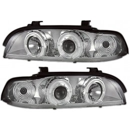 Phares avants angel eyes pour BMW Série 5 E39 - Chrome
