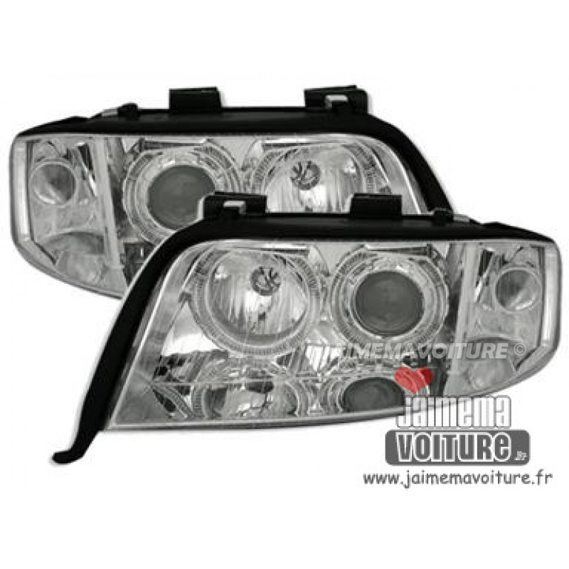 Phares avants angel eyes pour Audi A6 2001-2004 Chrome