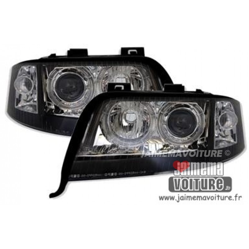 Phares avants angel eyes pour Audi A6 2001-2004 - Xenon