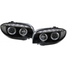Phares avants noirs angel eyes led BMW Série 1 CCFL