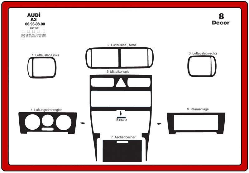 insert tableau de bord audi a3 1996 2000 8 pi ces. Black Bedroom Furniture Sets. Home Design Ideas