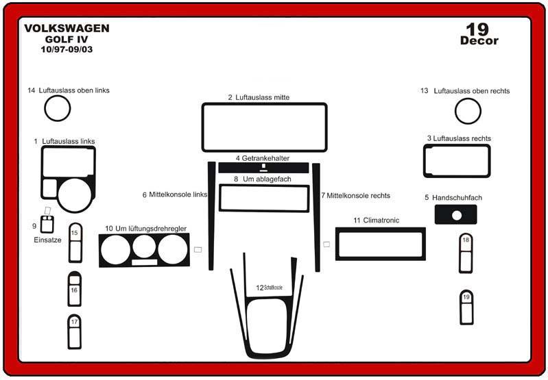 insert tableau de bord volkswagen golf iv 19 pi ces. Black Bedroom Furniture Sets. Home Design Ideas