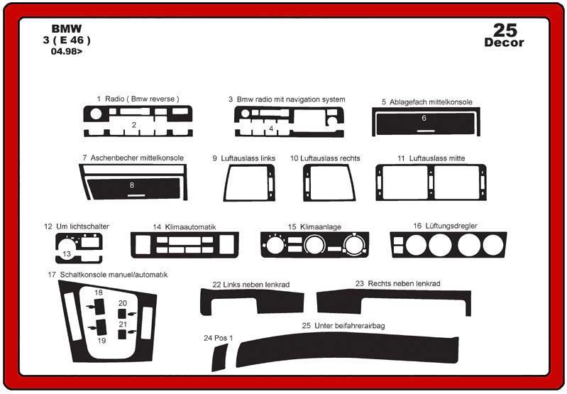 insert tableau de bord bmw s rie 3 e46 25 pi ces. Black Bedroom Furniture Sets. Home Design Ideas