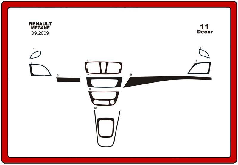 insert tableau de bord renault megane iii 11 pi ces. Black Bedroom Furniture Sets. Home Design Ideas