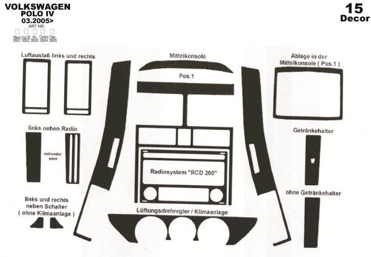 trims dashboard volkswagen polo 2009